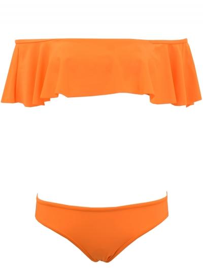 Sexy Off Shoulder Ruffled Two Piece Bikini