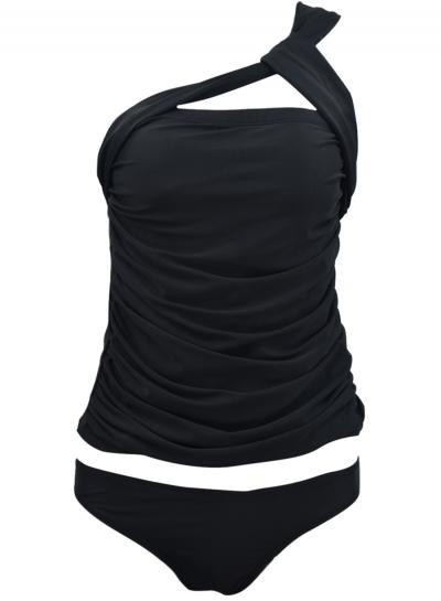 Fashion High Elasticity One Shoulder Two Piece Bikini Swimsuit Set