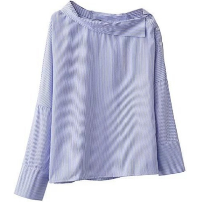 Off Shoulder Long Sleeve Slash Neck Side Buttons Striped Blouse Pullover stylesimo.com