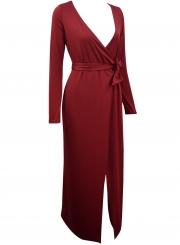 V Neck Long Sleeve Tie Waist Bodycon Maxi Dress