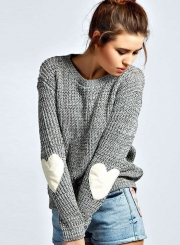 Women's Long Sleeve Beautiful Heathered Heart Patch Pullover Knit Sweater