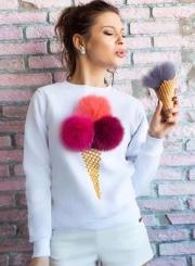Women's Cute Long Sleeve Ice Cream Graphic Pompon Round Neck Sweatshirt
