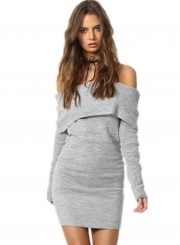 Casual Slash Neck Long Sleeve Mini Bodycon Sweater Day Dress