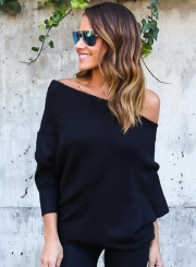 Women's Polyester Off Shoulder Batwing Sleeve Knitting Sweater