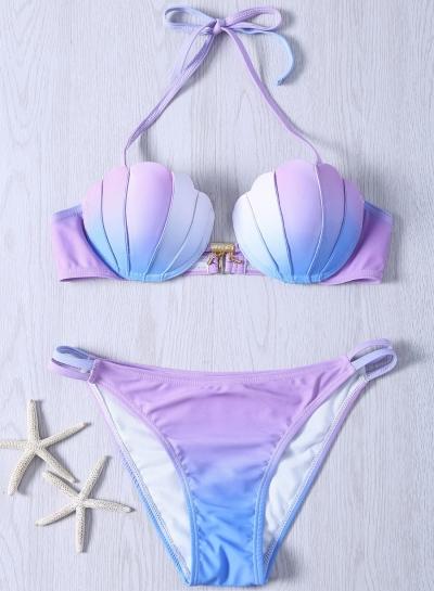 Sexy Skinny Fashion Gradient Color Shell Bikini Swimwear