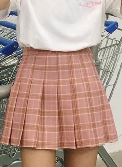 Women's Fashion Plaid Pattern Pleated Mini Skirt Day Dress