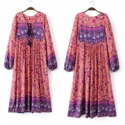Women's Fashion Polyester Boho Tie Neck Long Sleeve Pleated Day Dress