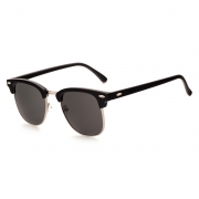 Women's Casual Wooden Retro Metal Large Frame Square Sunglasses