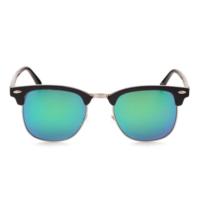 Women's Casual Wooden Retro Metal Large Frame Square Sunglasses stylesimo.com