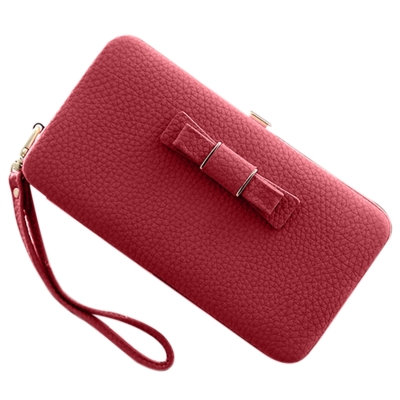 Women's Bow Large Capacity Strap Holder Artificial Leather Long Purse