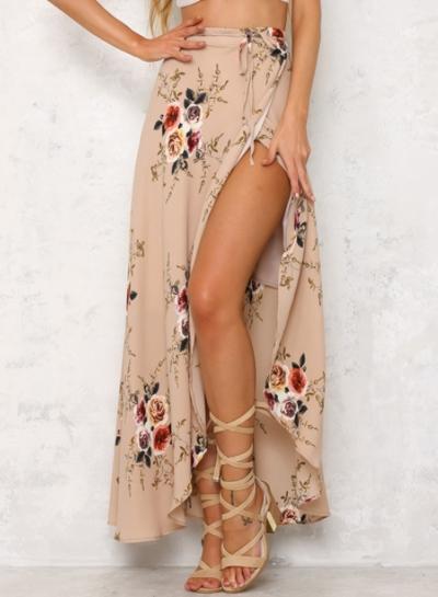 Women's Casual Asymmetrical High Slit Floral Printed Irregular Skirt