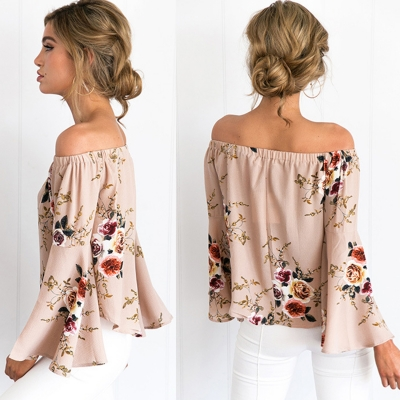 Women's Fashion Off The Shoulder Flare Sleeve Floral Printed Blouse stylesimo.com