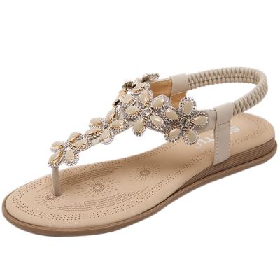 Women's Casual Summer Rhinestone Elastic Back Strap Thong Sandals