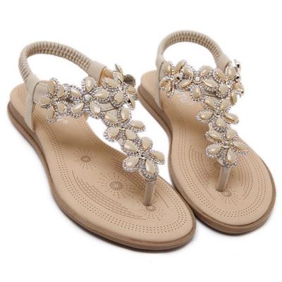 Women's Casual Summer Rhinestone Elastic Back Strap Thong Sandals stylesimo.com