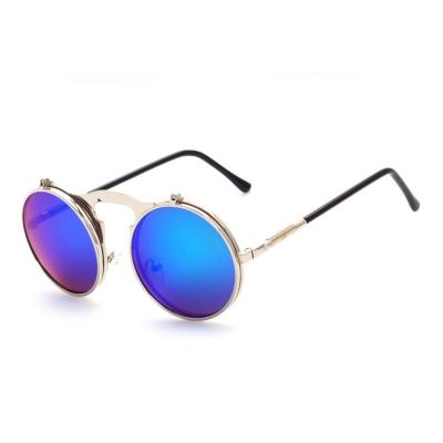 Women's Fashion Retro Flip Up Round Circle Lens Stempunk Sunglasses stylesimo.com