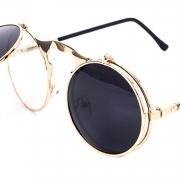 Women's Fashion Retro Flip Up Round Circle Lens Stempunk Sunglasses