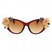 Women's Charming Plastic Baroque Style Flower Decoration Uv Sunglasses