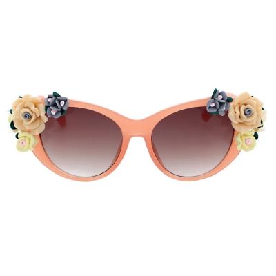 Women's Charming Plastic Baroque Style Flower Decoration Uv Sunglasses stylesimo.com
