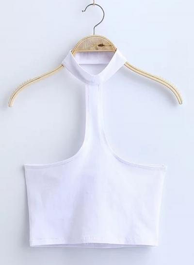 Women's Fashion Cotton Solid Sleeveless Choker Crop Top stylesimo.com