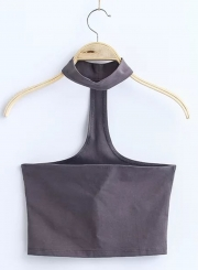 Women's Fashion Cotton Solid Sleeveless Choker Crop Top