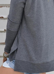 Women's Charming Off Shoulder Long Sleeve Slit Pullover Tee