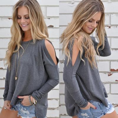 Women's Charming Off Shoulder Long Sleeve Slit Pullover Tee stylesimo.com