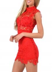 Women's High Neck Sleeveless Lace Bodycon Mini Club Dress