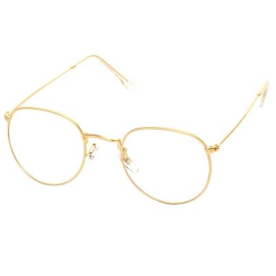 Women's Polycarbonate Retro Metal Frame Clear Lens Round Eyeglass