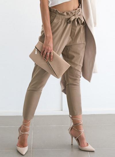 Women's Polyester Plain Ruffle Waist Pencil Pants With Belt