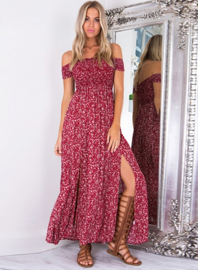 Women's Off Shoulder High Slit Floral Printed Maxi Dress STYLESIMO.com