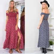 Women's Off Shoulder High Slit Floral Printed Maxi Dress