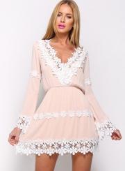 Women's V Neck Long Sleeve Lace Trim Mini Going Out Dress