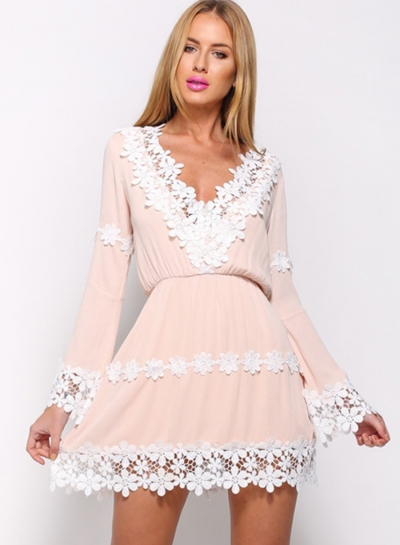 Women's V Neck Long Sleeve Lace Trim Mini Going Out Dress