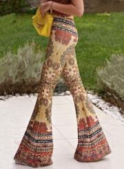 Women's Slim Fit High Waist Printed Flare Pants