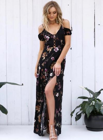 Short Sleeve Off Shoulder Floral Printed High Slit Dress