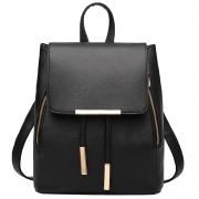 Women's PU Leather Drawstring Zipper Backpack