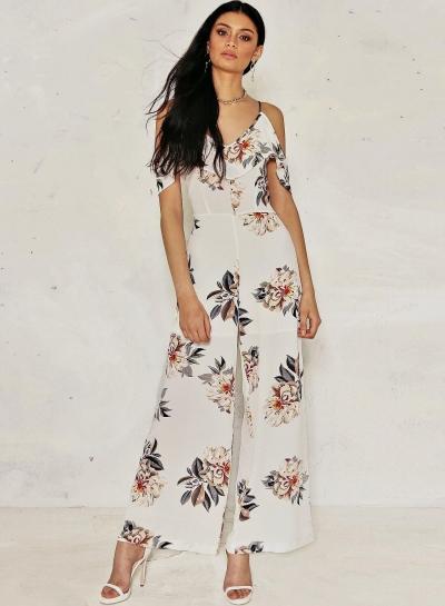 Women's Off Shoulder Floral Printed Ruffle Wide-Leg Jumpsuit