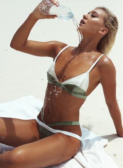 Slim Color Block Triangle Top Spandex Bikini Set
