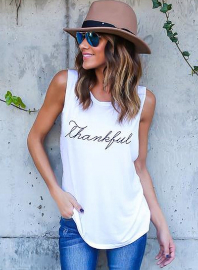 Women's Casual Sleeveless Letter Printed Pullover Tank STYLESIMO.com