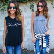 Women's Casual Sleeveless Letter Printed Pullover Tank