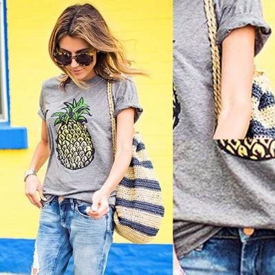 Women's Short Sleeve Pineapple Printed Pullover Tee stylesimo.com