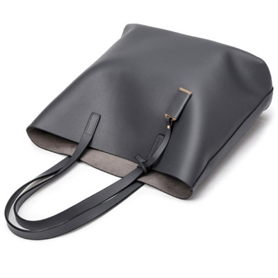 Women's PU Leather Solid Tote Shoulder Bag stylesimo.com