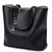 Women's PU Leather Solid Tote Shoulder Bag