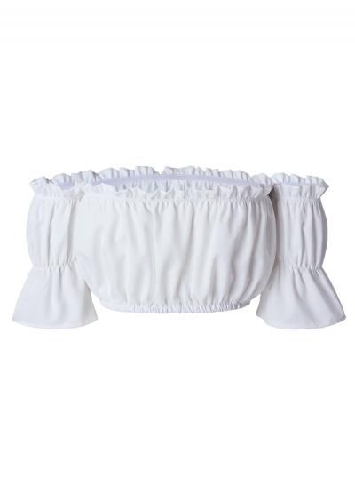 Women's Off Shoulder Short Sleeve Ruffle Crop Top stylesimo.com