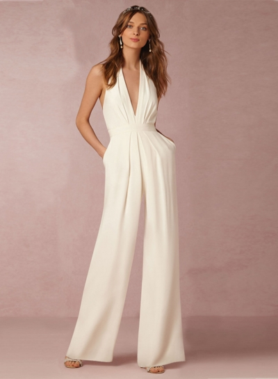 Women's White Halter Sleeveless Backless Jumpsuit