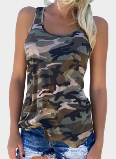 Women's Camouflage Printing Racer Back Tank