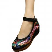 Women's Embroidery Platform Wedge Heels Old Beijing Shoes
