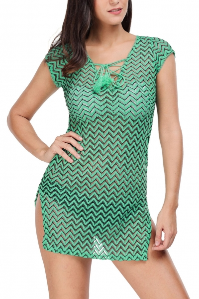 Green V Neck Lace up Cover up Dress
