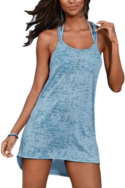 Light Blue Braided Racerback Burnout Beach Dress