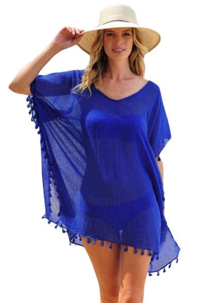 Blue Pom Pom Tassel Hem Gauze Cover up